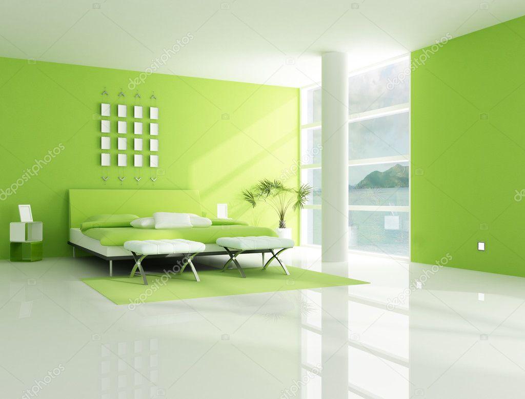 modernes schlafzimmer in grün ? stockfoto © archideaphoto #5019519 - Modernes Schlafzimmer Grun