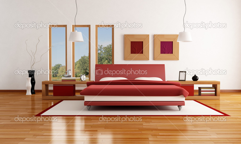 astonishing red white modern bedroom | Red and white modern bedroom — Stock Photo © archideaphoto ...