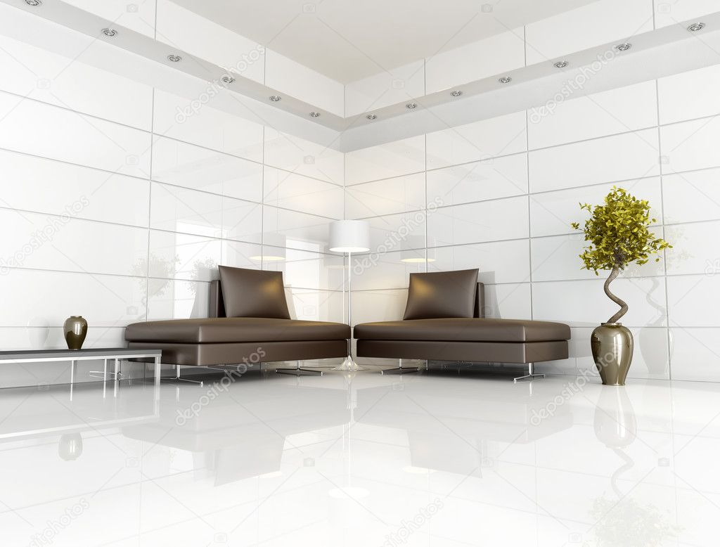 Contemporary brown and white living room — Stock Photo ...