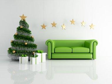 Green christmas interior