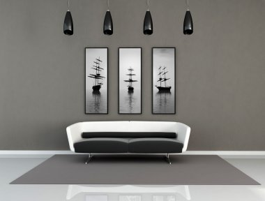Black and white modern interior
