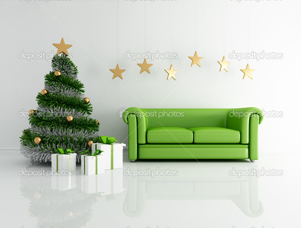 groene kerst interieur stockfoto