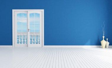 Blue empty mediterranean interior