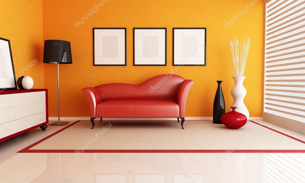 Soggiorno di arancione e rosso — Foto Stock © archideaphoto ...