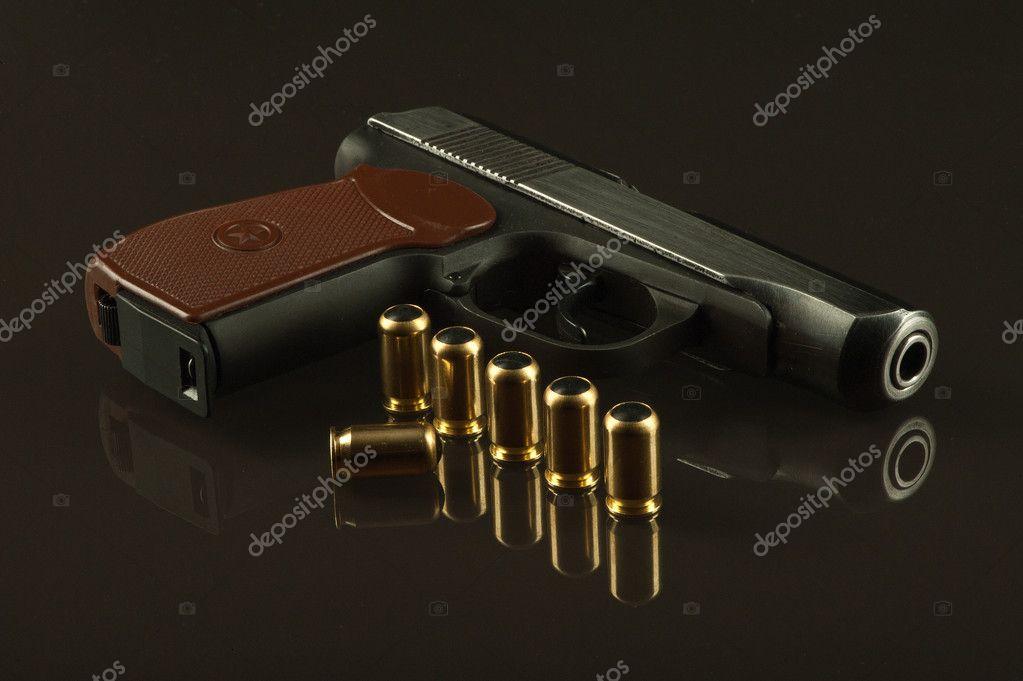 A gun with ammunition