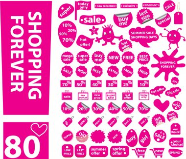 80 pink shopping stickers