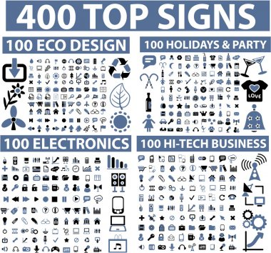 400 top signs stock vector