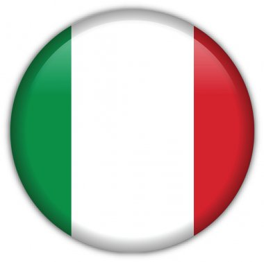Italy flag icon, button with official coloring stock vector
