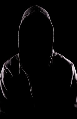 The man with no face over dark background stock vector