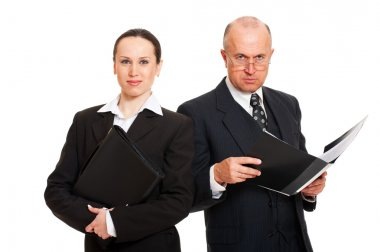 Two business with folders