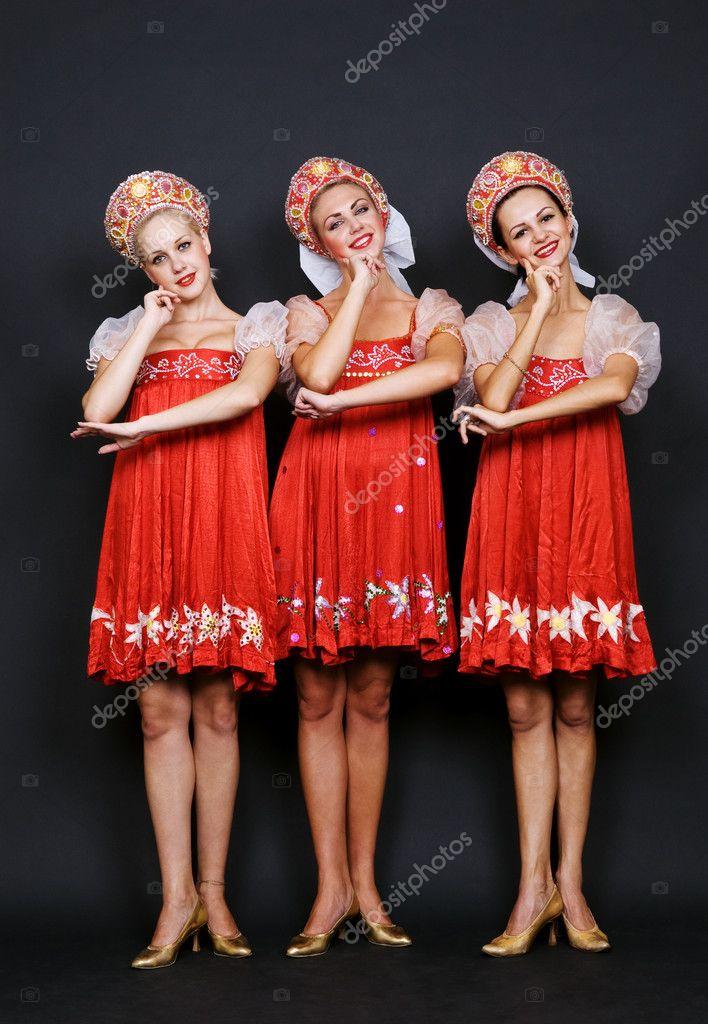 Three russian beauties — Stock Photo © konstantynov #5157204