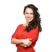 hezká žena v oranžovém tričku