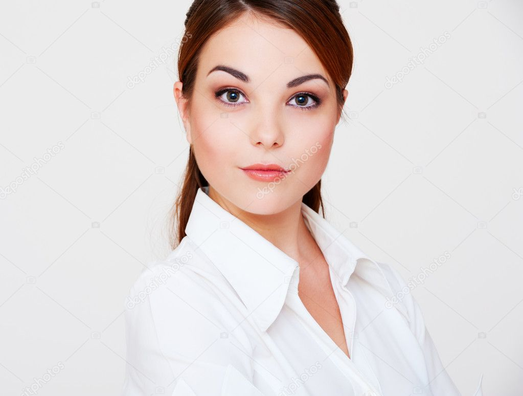 Lovely serious woman in white shirt — Stock Photo ...