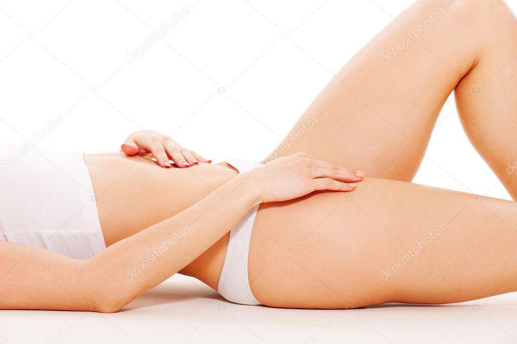 cuerpo femenino en ropa interior blanca — Fotos de Stock ...