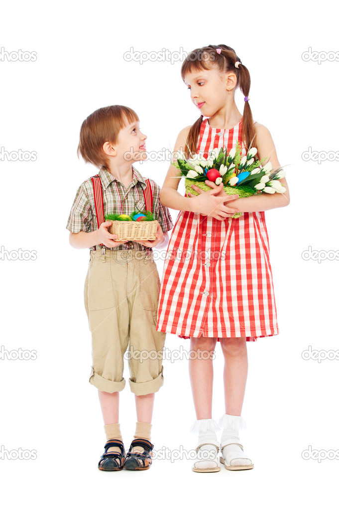 Smiley boy and girl with easter gifts stock photo konstantynov smiley boy and girl with easter gifts stock photo 5356917 negle Choice Image