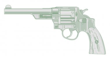 The image of an ancient revolver stock vector
