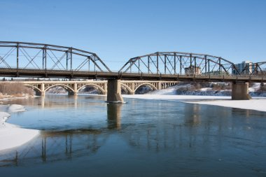 The riverfront view in Saskatoon, Canada