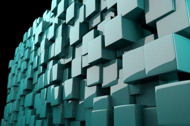 Abstract cyan 3D cubes