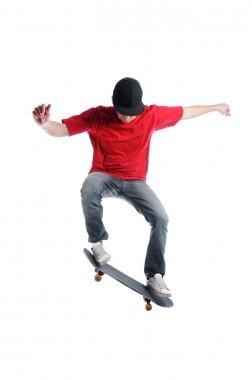 Skateboarder jumping isolated on white stock vector