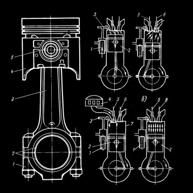 Blueprints of pistons