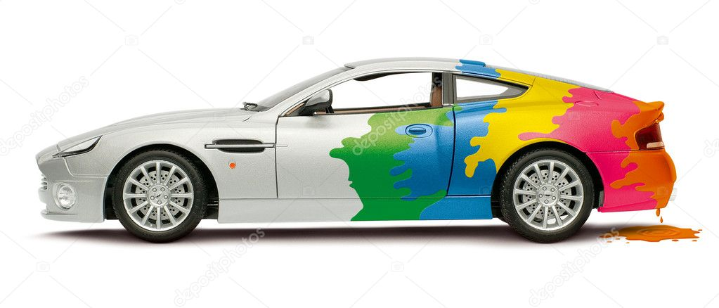 A colored car