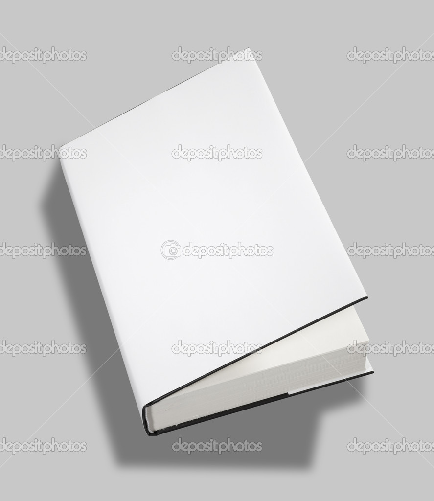 Book Cover White Xanax ~ Blank book open cover w clipping path — stock photo