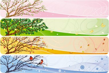 4in1 vector banner with seasonal theme.The document can be scaled to any size without loss of quality. stock vector