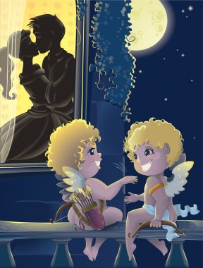 Cartoon with Cupids