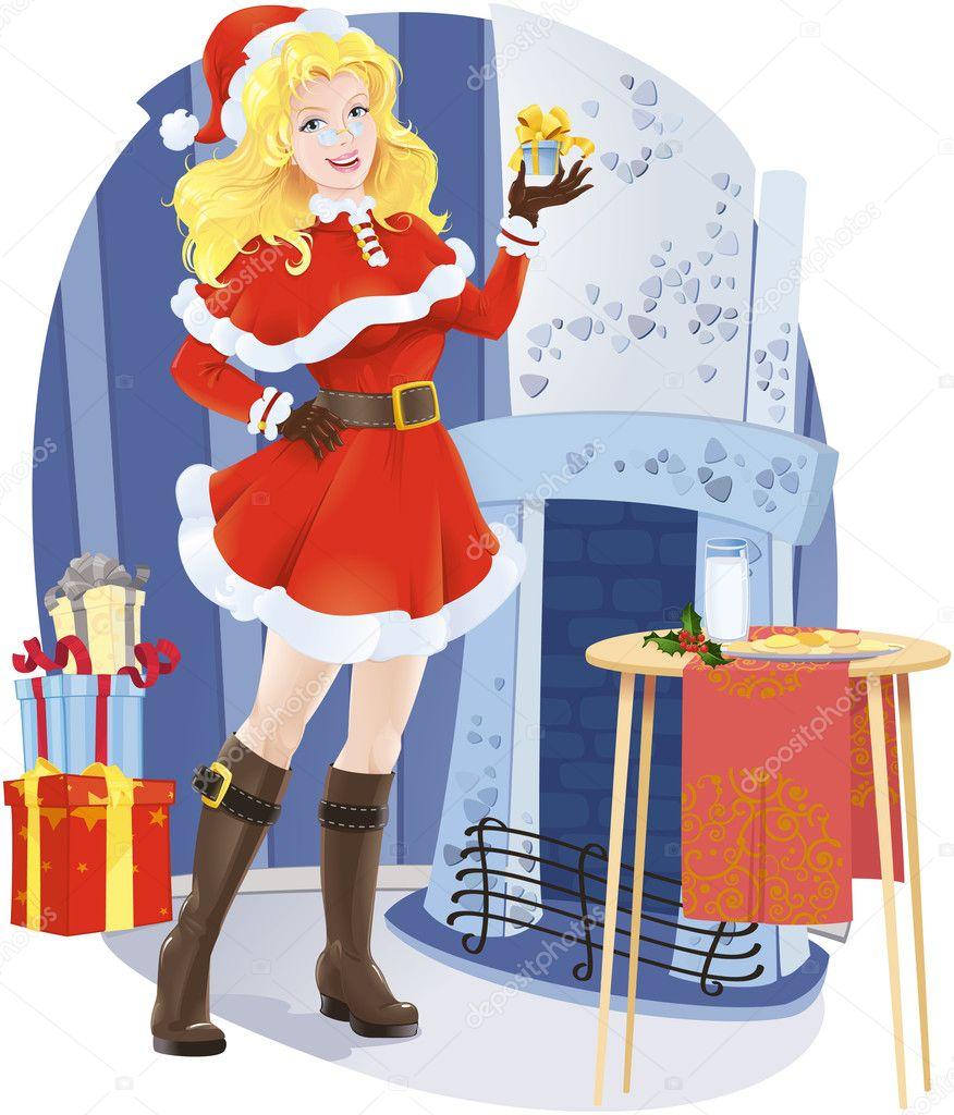 Beautiful Santa girl with christmas present