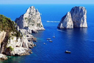 Faraglioni rocks close Capri island