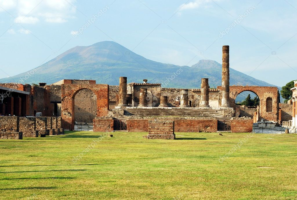 Pompeii ruins in italy with Mount Vesuvius