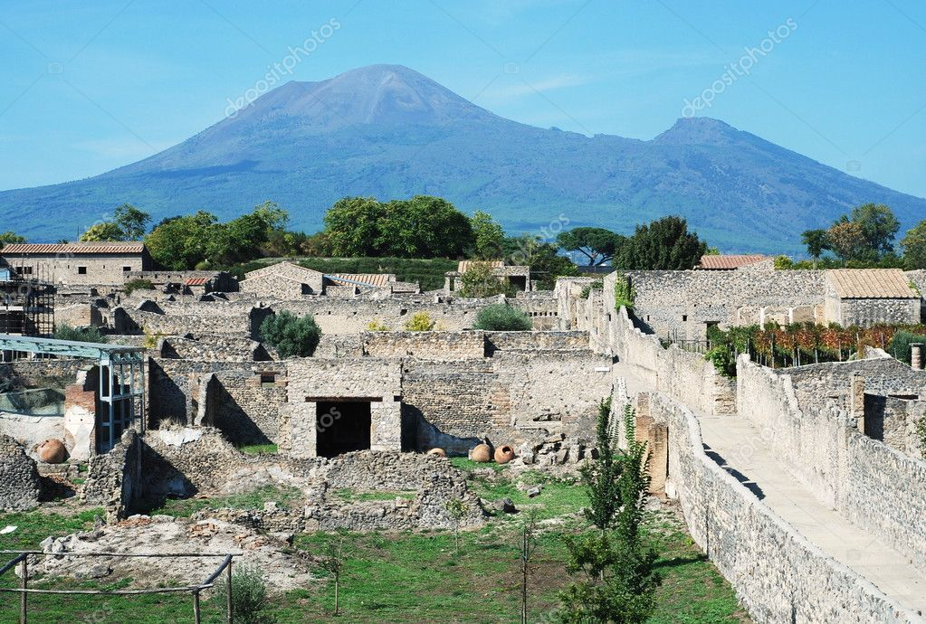 Pompei ruins in italy with Mount Vesuvius