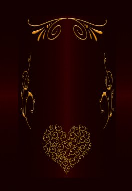 Burgundy with gold abstract vintage