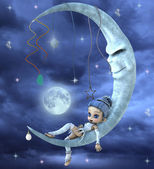 Photo Cute elf on a moon