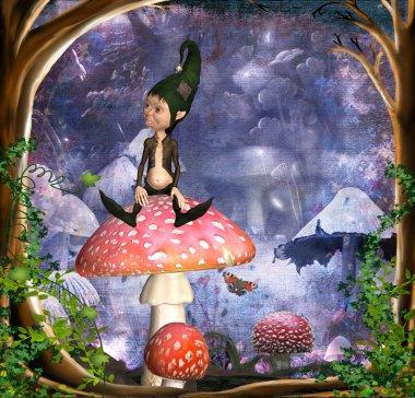 Fantasy landscape with kobold on mushroom stock vector