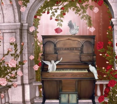 Old piano on a balconery with doves stock vector
