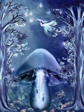 Fantasy landscape with mushroom and bird stock vector