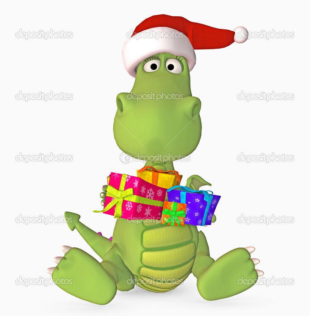 Cute dragon with gift and santa hat