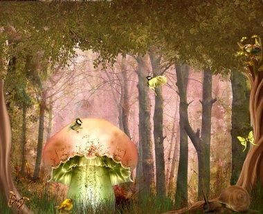 Fantasy background with birds,trees,mushroom stock vector