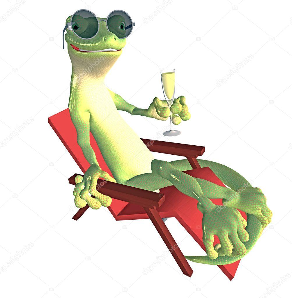 Gecko In Der Sonne Liegen Stockfoto Ancello 5123768
