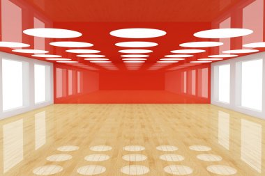 Red empty room