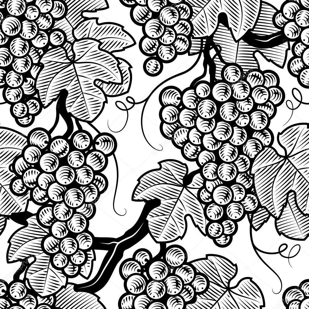 Seamless grape background black and white