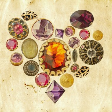 Precious stones heart on grunge background
