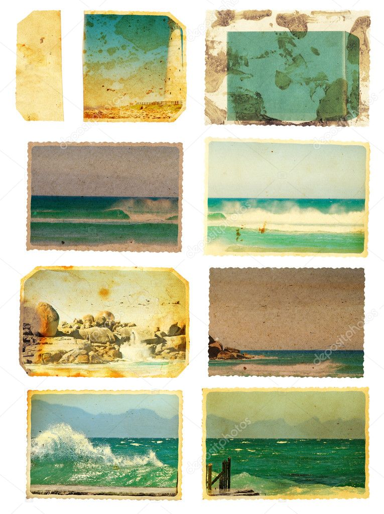 Grunge sea card set