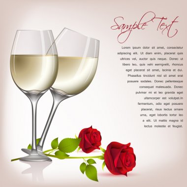 Illustration of rose with wine on abstract background stock vector