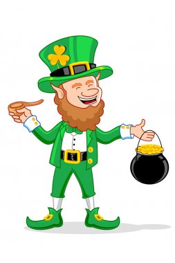Leprechaun with Smoking Pipe and Gold Coin Pot