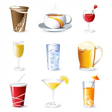 Illustration of different beverges on isolated background stock vector