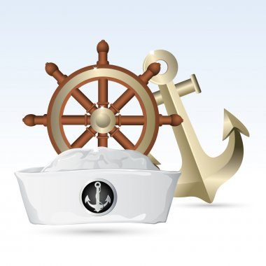 Sailor Hat with Steering Wheel and Anchor