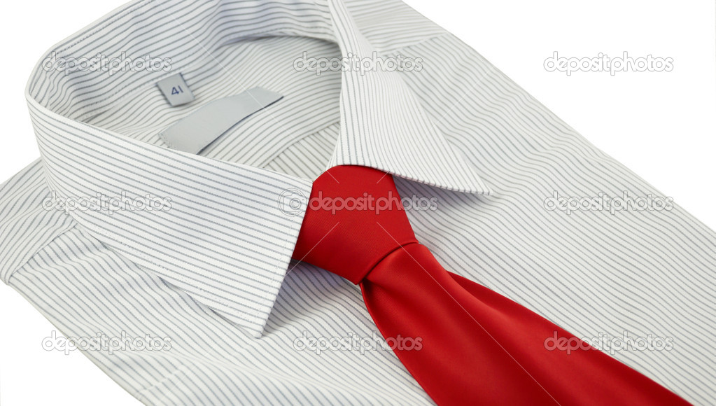 49b7b64dc044ff Close-up of new shirt with red silk necktie isolated on a white background  — Photo by boudikka