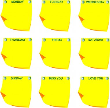 Days of the week on yellow note paper